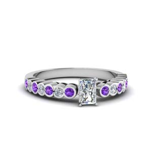 Radiant Cut Bezel Set Ring In Purple Topaz