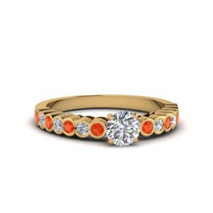 14K Gold Orange Topaz Ring