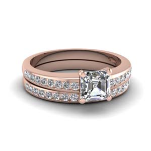 Channel Diamond Wedding Set