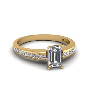Channel Set Emerald Cut Diamond Ring