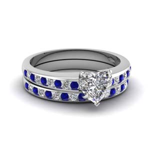 Heart Shaped Channel Wedding Set