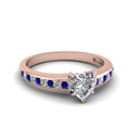 heart channel diamond with sapphire ring in FDENS3018HTRGSABL NL RG