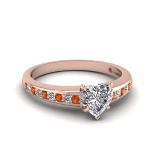 Heart Shaped Orange Sapphire Ring