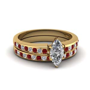 Channel Set Ruby Ring And Band
