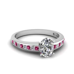 e92b39116db733 Channel Diamond Ring Oval Shaped diamond Side Stone Engagement Rings with  Pink Sapphire in 14K White Gold [ Setting + Center Stone ]