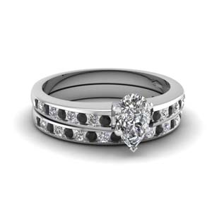 Channel Black Diamond Bridal Set
