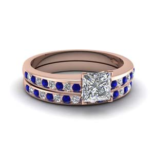Princess Cut Sapphire Wedding Set