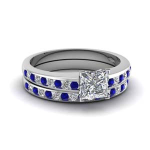 princess cut channel diamond wedding set with sapphire in FDENS3018PRGSABL NL WG