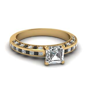 Asscher Ring With Black Diamond