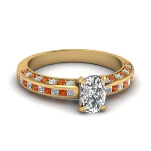 Cushion Cut Orange Sapphire Ring