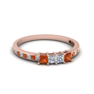 channel set princess cut diamond anniversary band with orange sapphire in 14K rose gold FDENS3022BGSAOR NL RG 30