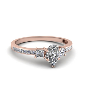 delicate 3 stone pear diamond engagement ring in FDENS3022PER NL RG 30