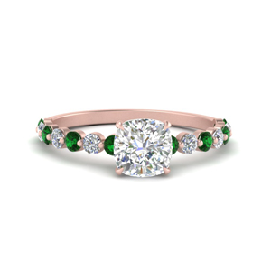 shared prong thin cushion engagement ring with emerald in rose gold FDENS3023CURGEMGR NL RG