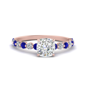 shared prong thin cushion engagement ring with sapphire in rose gold FDENS3023CURGSABL NL RG