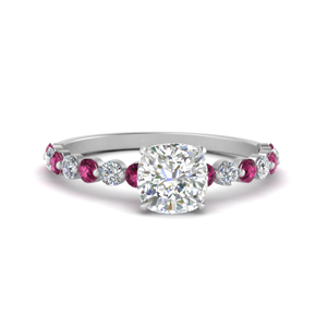 shared prong thin cushion engagement ring with pink sapphire in white gold FDENS3023CURGSADRPI NL WG
