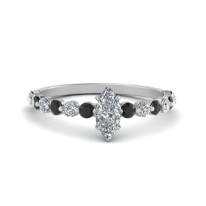 shared prong thin marquise engagement ring with black diamond in white gold FDENS3023MQRGBLACK NL WG