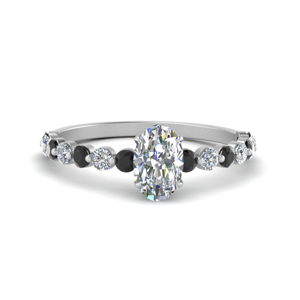 shared prong thin oval engagement ring with black diamond in white gold FDENS3023OVRGBLACK NL WG