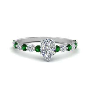 shared prong thin pear engagement ring with emerald in white gold FDENS3023PERGEMGR NL WG