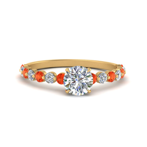 shared prong thin round engagement ring with orange topaz in yellow gold FDENS3023RORGPOTO NL YG