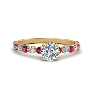 shared prong thin round engagement ring with pink sapphire in yellow gold FDENS3023RORGSADRPI NL YG