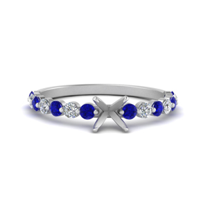 shared prong thin semi mount engagement ring with sapphire in white gold FDENS3023SMRGSABL NL WG
