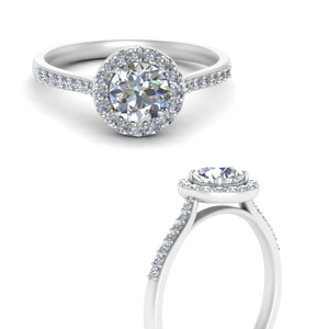 Round Lab Diamond Halo Ring