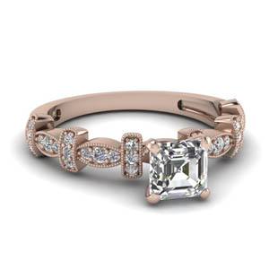 Asscher Cut Diamond Art Deco Ring