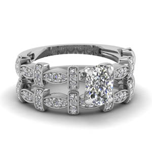 Cushion Cut Pave Wedding Set