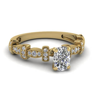 Milgrain Cushion Cut Diamond Ring