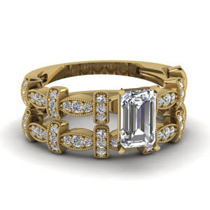 Milgrain Emerald Cut Wedding Set