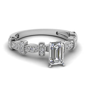 Pave Diamond Emerald Cut Ring