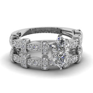 Classic Marquise Diamond Pave Wedding Set