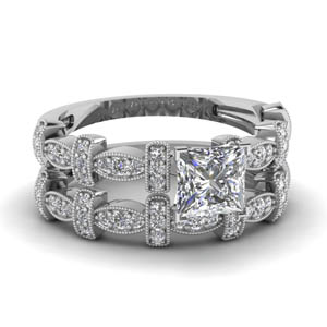 Beautiful Princess Cut Pave Wedding Set