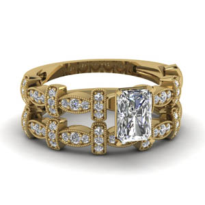 Pave With Radiant Art Deco Wedding Set