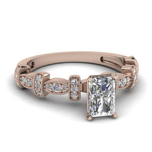 Milgrain Radiant Cut Diamond Ring
