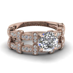 Round Diamond Milgrain Wedding Set