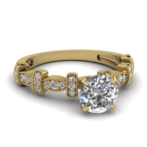 Round Diamond Milgrain Pave Ring