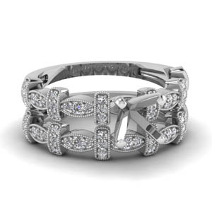 Platinum Semi Mount Pave Wedding Set