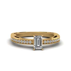 Emerald Cut Delicate Pave Ring