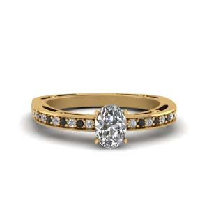 Petite Black Diamond Gold Ring