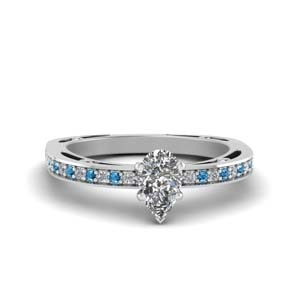 Beautiful Blue Topaz Platinum Ring
