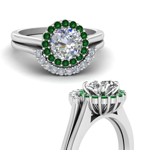 Curved Emerald Bridal Wedding Set