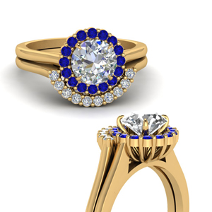 Sapphire Gold Curved Wedding Set