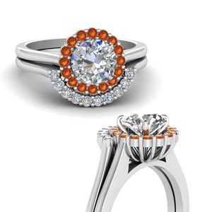 Halo Diamond Orange Sapphire Set