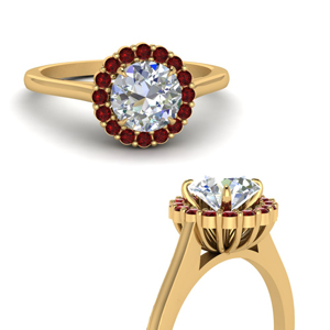 Round Cut Ruby Halo Engagement Rings