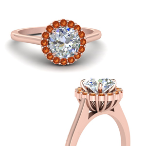 18K Rose Gold Orange Sapphire Ring