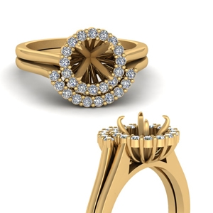 Mounting Gold Halo Bridal Set