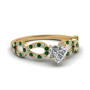Heart Shaped Infinity Emerald Ring