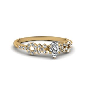 x o pave set diamond womens wedding ring in 14K yellow gold FDENS3043PER NL YG 30
