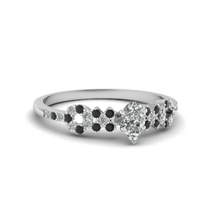 x o pave set diamond womens wedding ring with black diamond in 14K white gold FDENS3043PERGBLACK NL WG 30